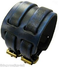 GENUINE LEATHER BLUE WRISTBAND WRIST STRAP CUFF BRACELET MENS STEAMPUNK BUCKLE