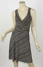 BCBG MAXAZRIA Brown & Ivory Print Matte Stretch Jersey Faux Wrap Ring Dress XS