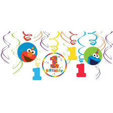 SESAME STREET Elmo Turns One HANGING SWIRL DECORATIONS (12) ~ Party Supplies