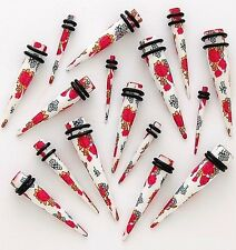 1 Pair Straight White Daisy Rose Acrylic Tapers Gauges Ear Plugs Stretchers 8g