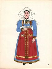 Gravure d'Emile Gallois costume des provinces françaises 1950 Bretagne