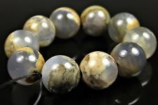 Earthy Appeal ~ Unique Rare Skinned Blue Chalcedony Round Bead - 11mm - 4997A