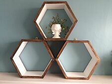 *3* HEXAGON SHELVES SCANDI MODERN RETRO GEOMETRIC WALL DISPLAY GIFT CHRISTMAS