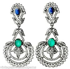 BLUE GREEN & CLEAR CRYSTAL RHINESTONE Silver Art Deco Chandelier Drop Earrings