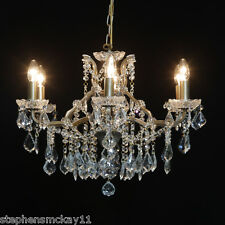 Beautiful Six Arm Shallow Gold Metal Framed Crystal Chandelier 64cm Diameter New
