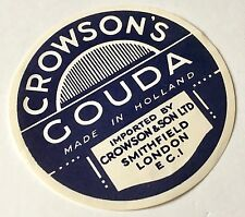Antique Packaging Label Crowsons Gouda Cheese Paper Graphics Vintage Retro