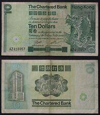 The Chartered Bank 1981 Hong Kong 10 Dollars Note Pick 284a circulated #B344
