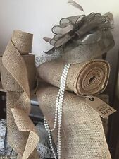 "10m Roll of 6"" Natural Jute Hessian Burlap ribbon. Vintage Weddings, Chair Sash"