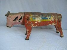 Antique Carved Painted Child's Bull Carousel Ride Folk Art Amusement Park