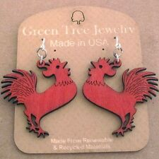 ROOSTER Green Tree Jewelry CHERRY RED laser-cut wood earrings USA 1361 chicken