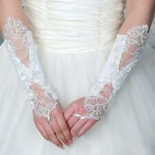 Lace  Bridal Long Glove Fingerless Satin Gloves Elegant Wedding Party Accessory