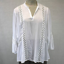 NEW NWT XCVI Plus Size Sheer White Open Lace Trim V-Neck High-Lo Tunic Blouse 3X