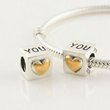 Genuine Pandora Silver & 14ct Gold I Love You Cube Charm - 790200