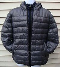 NWT Men's Tommy Hilfiger Gray/Navy Blue Packable Hooded Puffer Jacket/XL~$195