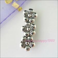 12Pcs New Tibetan Silver Tone Charms 3Hole Spacer Bars Connectors DIY 9.5x26mm