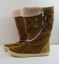 Rocket Dog Indian Sun 8 M Tan Corduroy Mid Calf Boots Faux Wool Lined Shoes