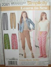Womens/Misses Learn To Sew Pants Sewing Pattern/Simplicity 2061/SZ 6-18/UCN