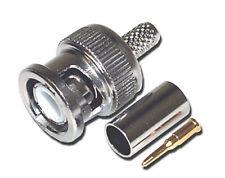 2 x di alta qualità BNC crimpare connettori con spilla d'oro. (2 completo di tappi, maschio)