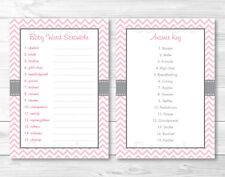 "Modern Pink Chevron Printable Baby Shower ""Baby Word Scramble"" Game Cards"
