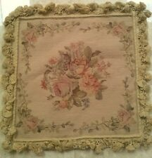 "16"" NeedlePoint-PetitPoint Pillow Cushion Sham with Tassels DM16C Rose"