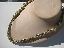TWISTED 3 STRAND GENUINE FRESH WATER PEARLS JADE MUTED GEMSTONES BEADS NECKLACE