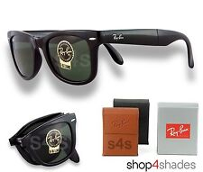 Ray Ban Folding Wayfarer Unisex Sunglasses SHINY BLACK_CRYSTAL GREEN 4105 601 50