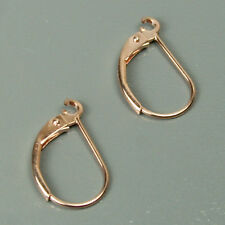Solid 14K rose gold open ring plane leverback earrings finding