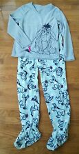 DISNEY Eeyore Footed Two Piece Sleeper Pajamas PJ Adult Size S 4-6