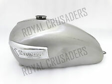 NEW TRIUMPH T120 RAW STEEL PETROL TANK WITH BADGES (REPRODUCTION)