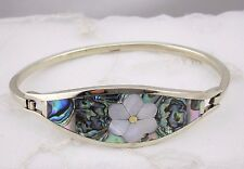 Alpaca Silver Bangle Bracelet Abalone Shell Flower Fashion Jewelry NEW Handmade