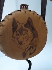 Mexican Tooled Leather Handmade Shoulder Canteen Flask Wolf Camp Hike Horse  8""