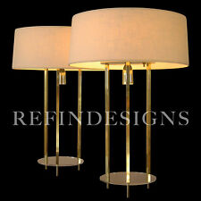 SUBLIME PAIR TOMMI PARZINGER MODERN BRASS TRIPOD LUCITE STIFFEL TABLE LAMP 1950s