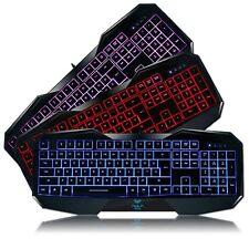 LED Backlit Gaming Keyboard with 3 Colorways Illuminated Ergonomic