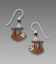 Sienna Sky Hanging SLOTH EARRINGS STERLING Silver Hand Painted Dangle - Boxed
