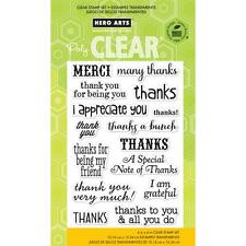 Hero Arts THANKS A BUNCH  CL663 Clear Cling  Set of 15 Merci & I Appreciate You