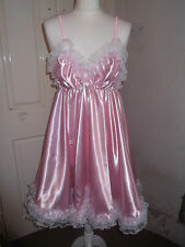 ADULT BABY~SISSY~MAIDS~UNISEX~TV/CD ULTRA FRILLY SATIN & LACE BABYDOLL ~ NIGHTIE