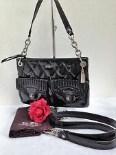COACH POPPY LIQUID GLOSS BLACK HIPPIE SHOULDER BAG/CROSSBODY - STYLE 18678 - EUC