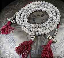 Tibet 108 Yak Bone Eye Meditation Prayer Beads 3 Tassel Mala Necklace W Counters
