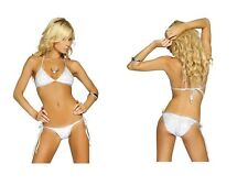 Bikini donna Costume Mare Bianco Argento Sexy Ciniglia