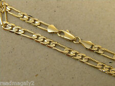 Lady's Girl's Yellow Gold Plated Figaro Necklace Chain 20in Inch Long 4mm Wide
