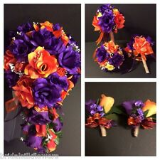 Orange Purple Wedding Bridal Bouquet Package Silk Rose Wedding Flowers Burlap