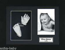 New Baby Christening Gift Silver 3D Handprints Footprints Casting Kit and Frame