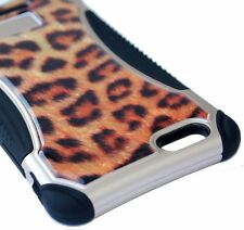For iPhone 6+ / 6S+ Plus - HARD&SOFT RUBBER HYBRID CASE CRYSTAL BROWN LEOPARD