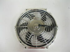 "10"" Street Rod Radiator Electric Chrome Cooling Fan 1900 CFM Reversible S Blade"