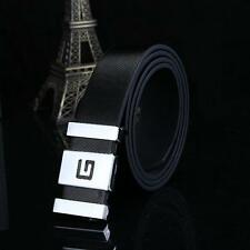 Fashion Men Women Automatic Buckle Leather Waist Strap Belts Buckle Belt Black