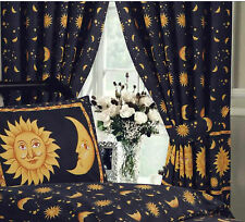 "SUN AND MOON BLACK GOLD 66"" x 72"" PENCIL PLEAT CURTAINS & MATCHING TIE BACKS"