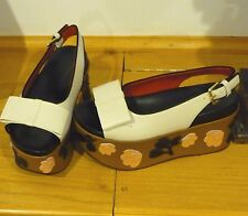 NEW MARNI ZEPPA CREME TOP W/BOW LEATHER PLATFORM WEDGE 39 SHOES FREE SHIPPING!
