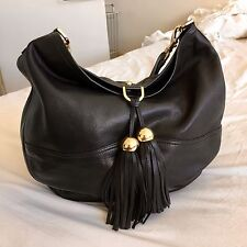 Mulberry 'Greta' Black Leather Woman's Shoulder Bag - With Gold Hardware