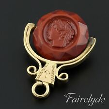 Fine Antique Yellow Metal Intaglio Swivel Seal Pendant Charm Spinner Gift Boxed