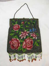 ANTIQUE MICRO BEADED PURSE BAG FLORAL JEWELED FRAME PINK ROSES FLORAL BEADS